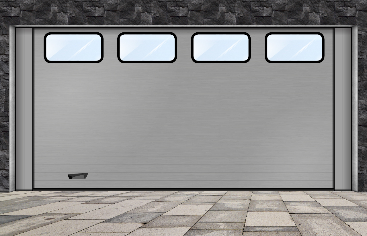 porta seccionada com visores industriais oval