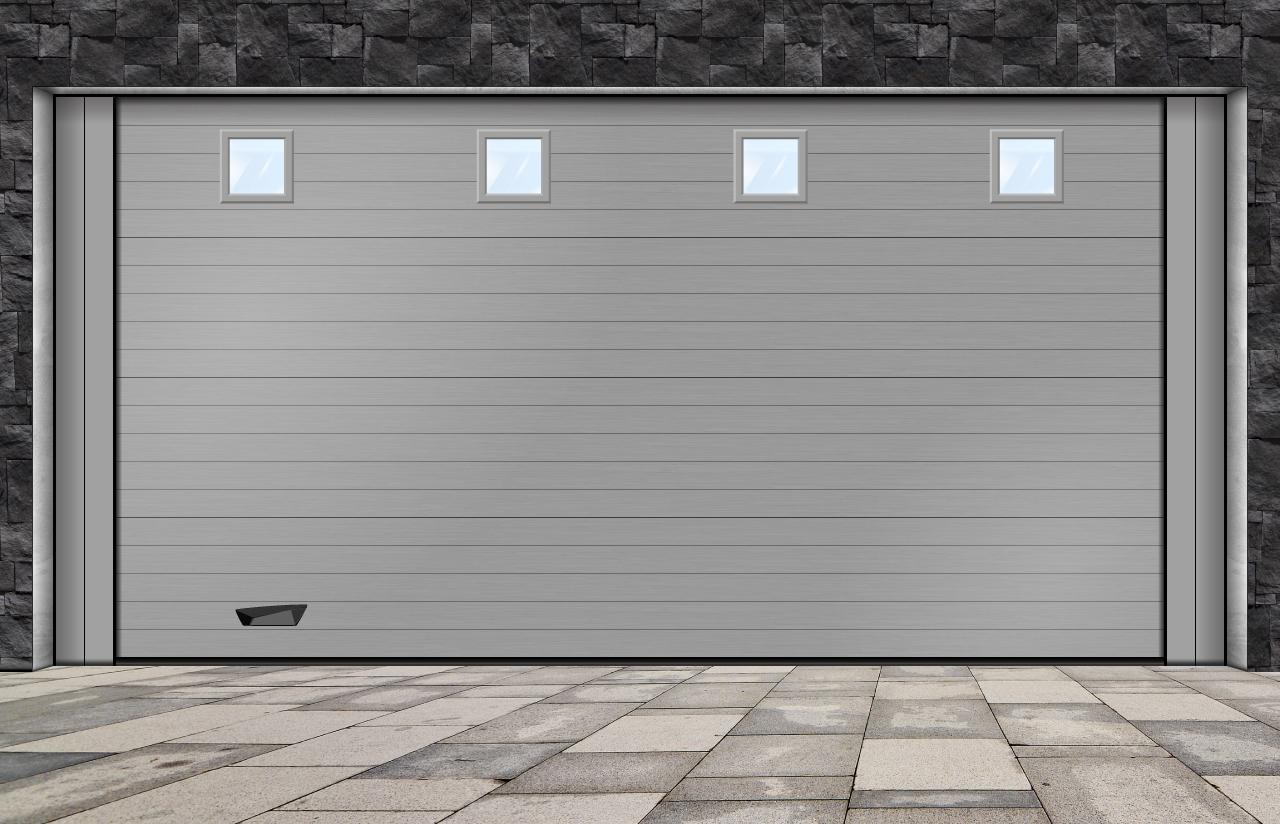 porta seccionada com visores quadrados